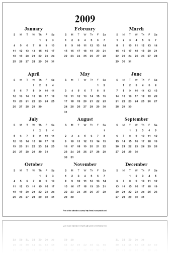 Free Online Calendar PDF - Year on a Page