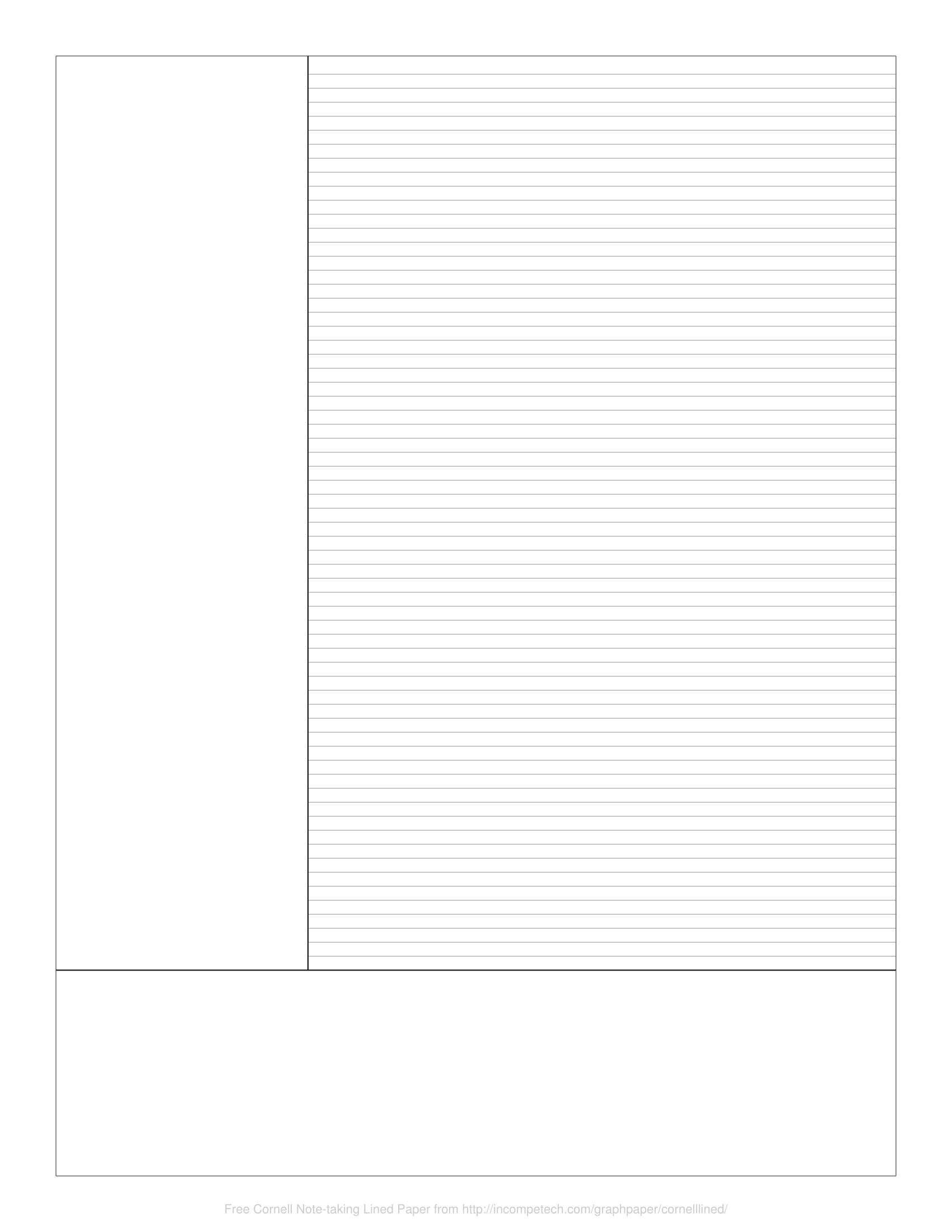 Free Online Graph Paper / Cornell Note-taking Lined